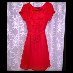 New. Lands' End ruffled, red dress
